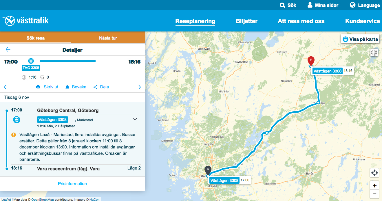 Image of travel suggestion Göteborg to Vara November 6 2018