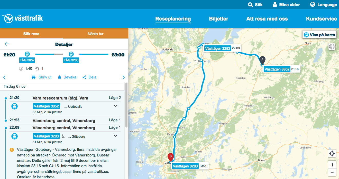 Image of travel suggestion Vara to Göteborg November 6 2018