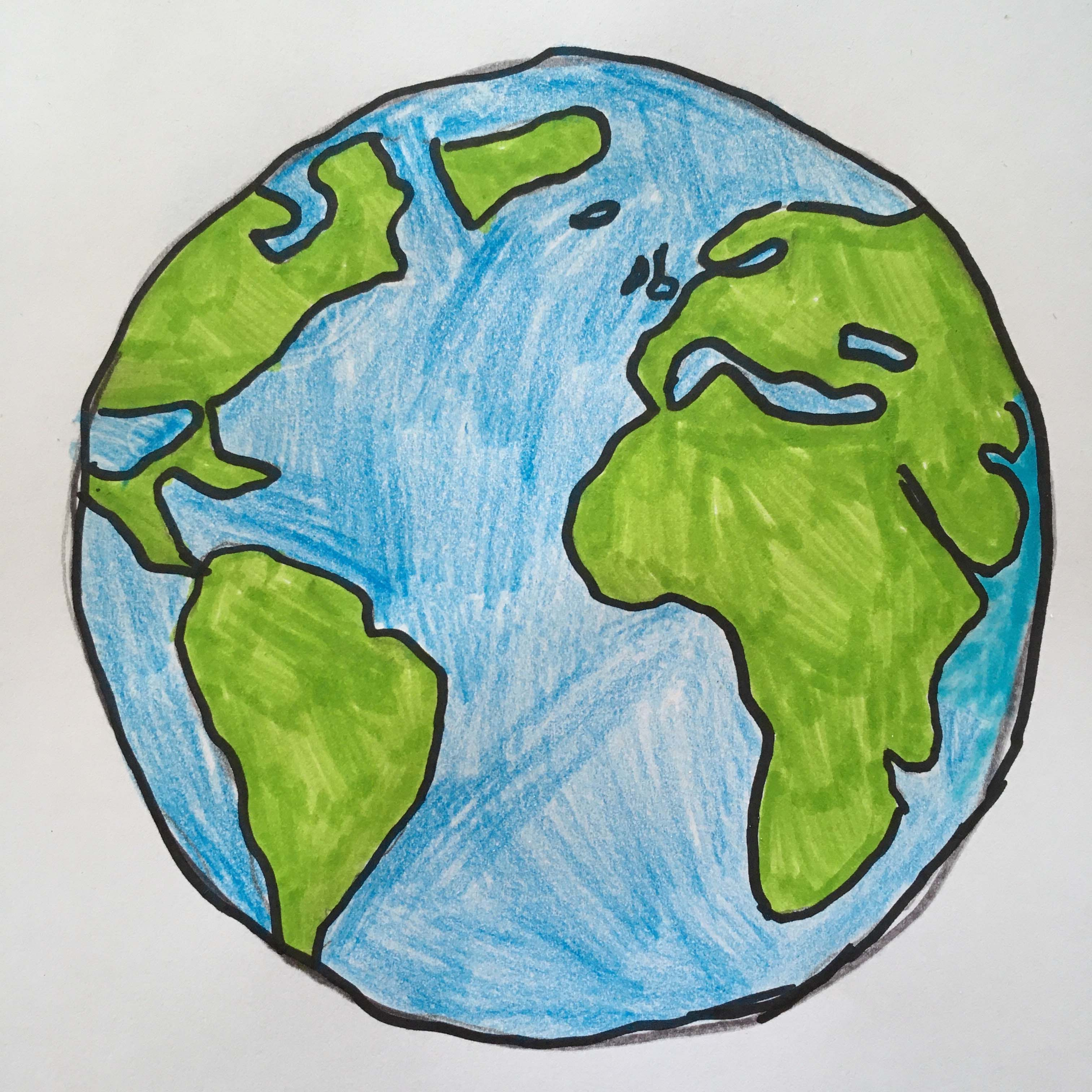 The image depicts a drawing of a globe.