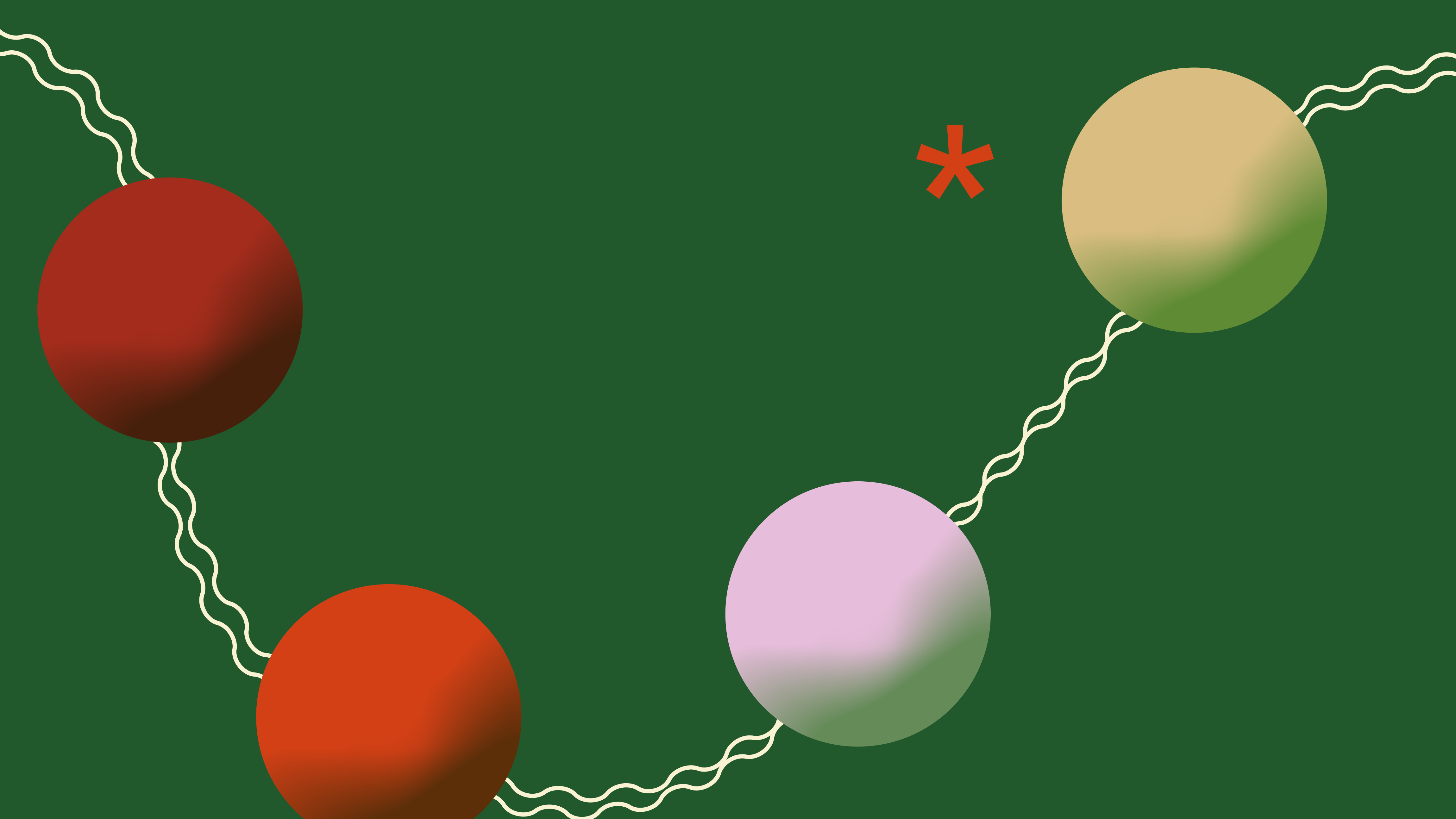 The image is an illustration depicting four different colored Christmas baubles, linked together by a white string, set against a dark green background. Illustration: Emilia Wärff