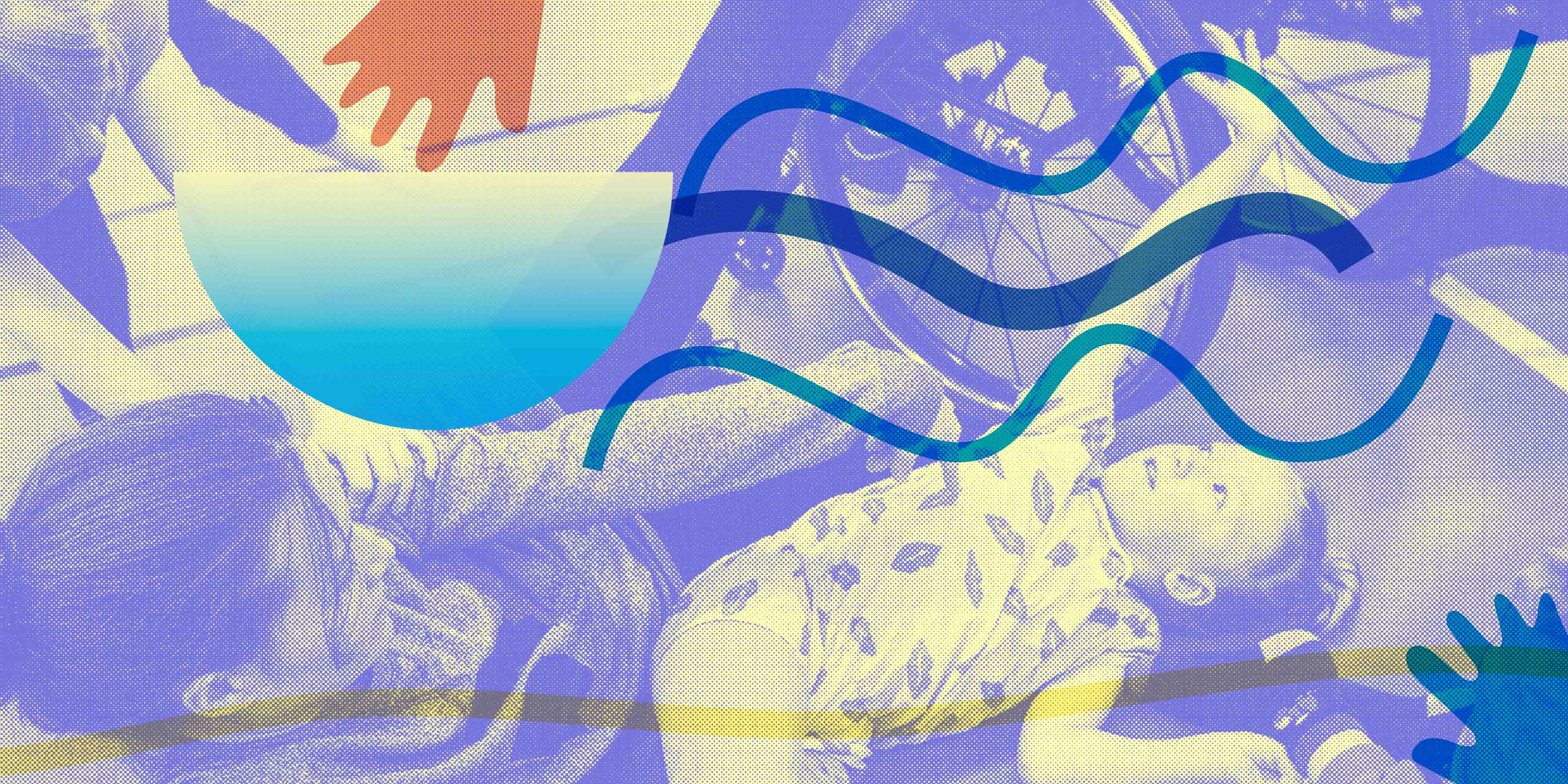 The picture shows two people dancing with each other, lying on the floor. In the top right corner there is a wheelchair. On top of the picture is a purple raster and on top of this are some blue-green wave-shaped lines. Graphic form: Emilia Wärff